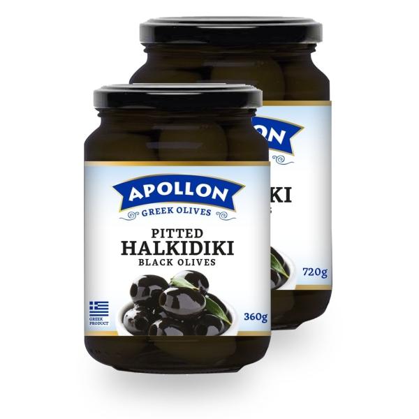 Чёрные оливки Apollon без косточек - 720 гр