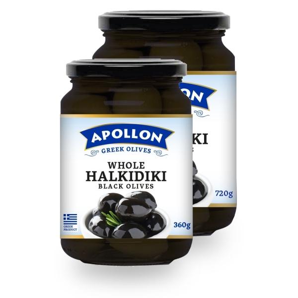 Чёрные оливки Apollon с косточками - 720 гр