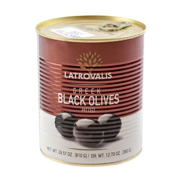 Чёрные оливки Latrovalis без косточек ж/б - 810 гр