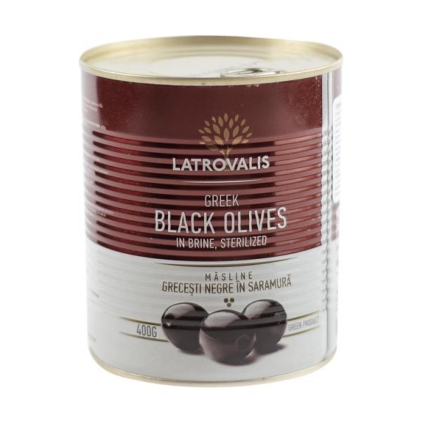Чёрные оливки Latrovalis с косточками ж/б - 810 гр