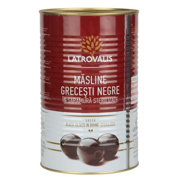 Чёрные оливки Latrovalis с косточками ж/б - 4,25 кг