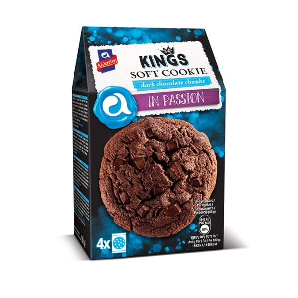 Мягкое печенье Allatini Kings с тёмным шоколадом - 180 гр