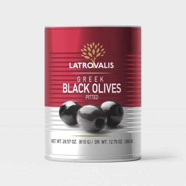 Чёрные оливки Latrovalis без косточек ж/б - 400 гр