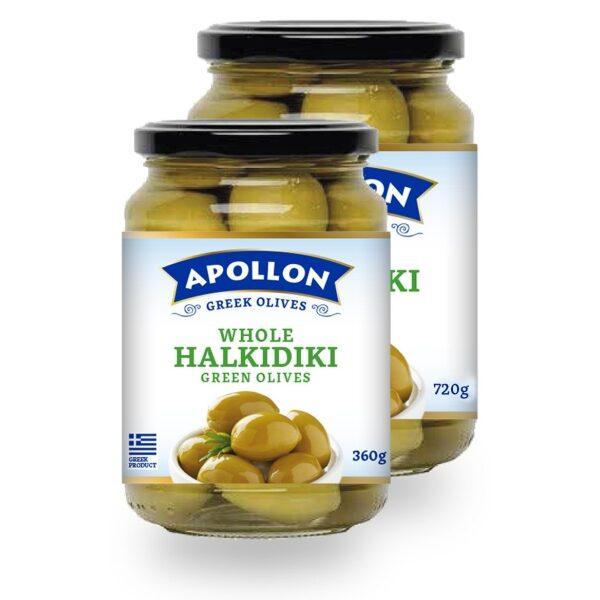 Зелёные оливки Apollon с косточками - 360 гр
