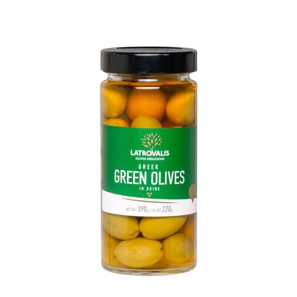Зелёные оливки Latrovalis с косточками - 390 гр