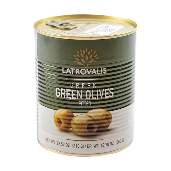 Зелёные оливки Latrovalis без косточек ж/б - 810 гр