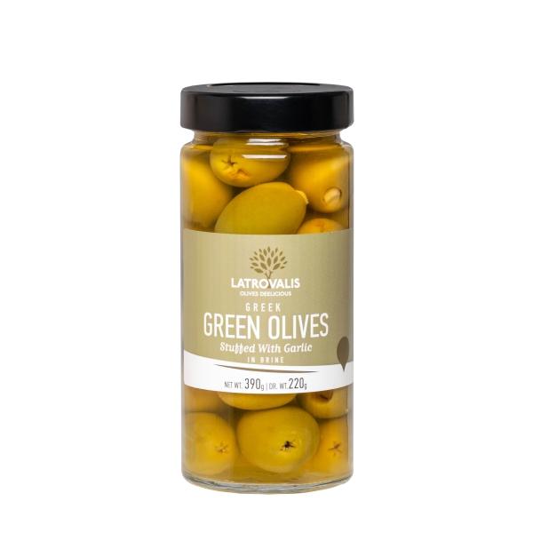 Зелёные оливки Latrovalis фаршированные чесноком - 390 гр