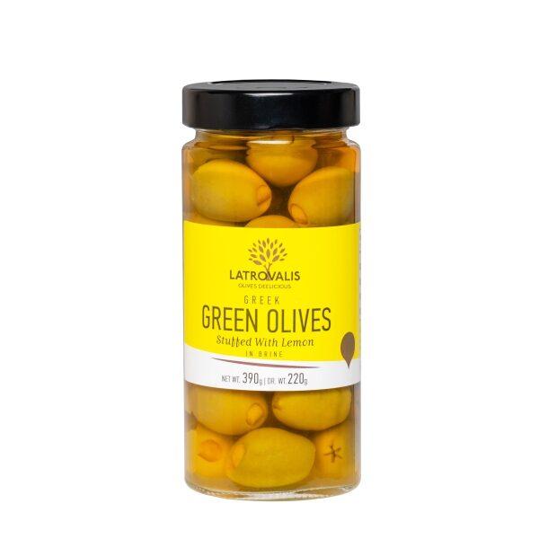 Зелёные оливки Latrovalis фаршированные лимоном - 390 гр