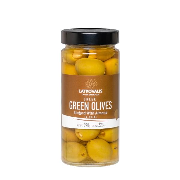 Зелёные оливки Latrovalis фаршированные миндалём - 390 гр