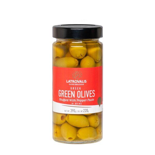 Зелёные оливки Latrovalis фаршированные пастой из красного перца - 390 гр
