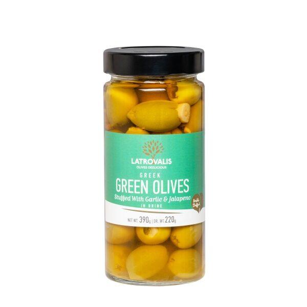 Зелёные оливки Latrovalis фаршированные перцем халапеньо и чесноком - 390 гр