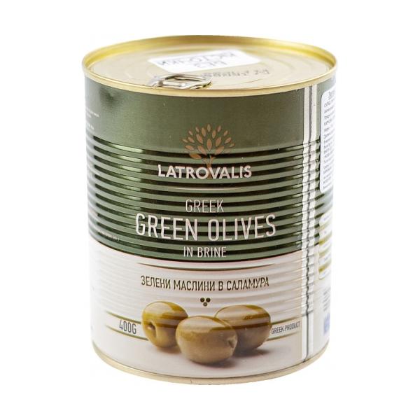 Зелёные оливки Latrovalis с косточками ж/б - 810 гр