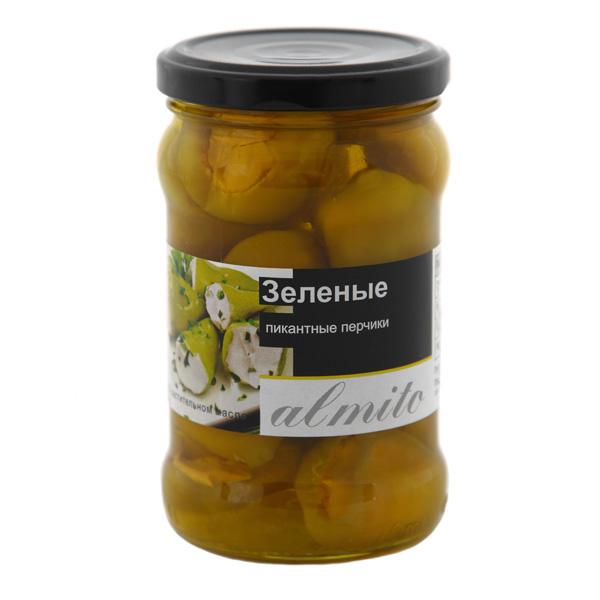 Зелёные пикантные перчики Almito с начинкой из сырного крема - 270гр