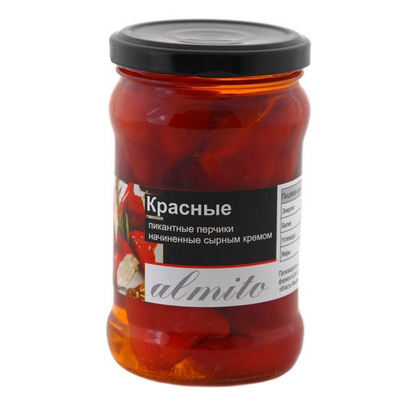 Красные пикантные перчики Almito начинённые сырным кремом - 280гр