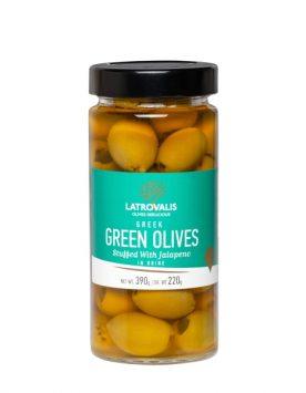 Зелёные оливки Latrovalis фаршированные перцем халапеньо - 390 гр